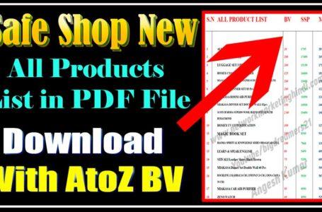 Safe Shop Product List with BV pdf File Download