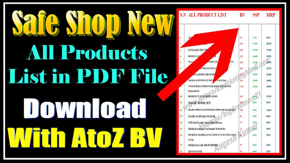 Safe Shop All New Product List with BV pdf File Download by Angesh Kumar